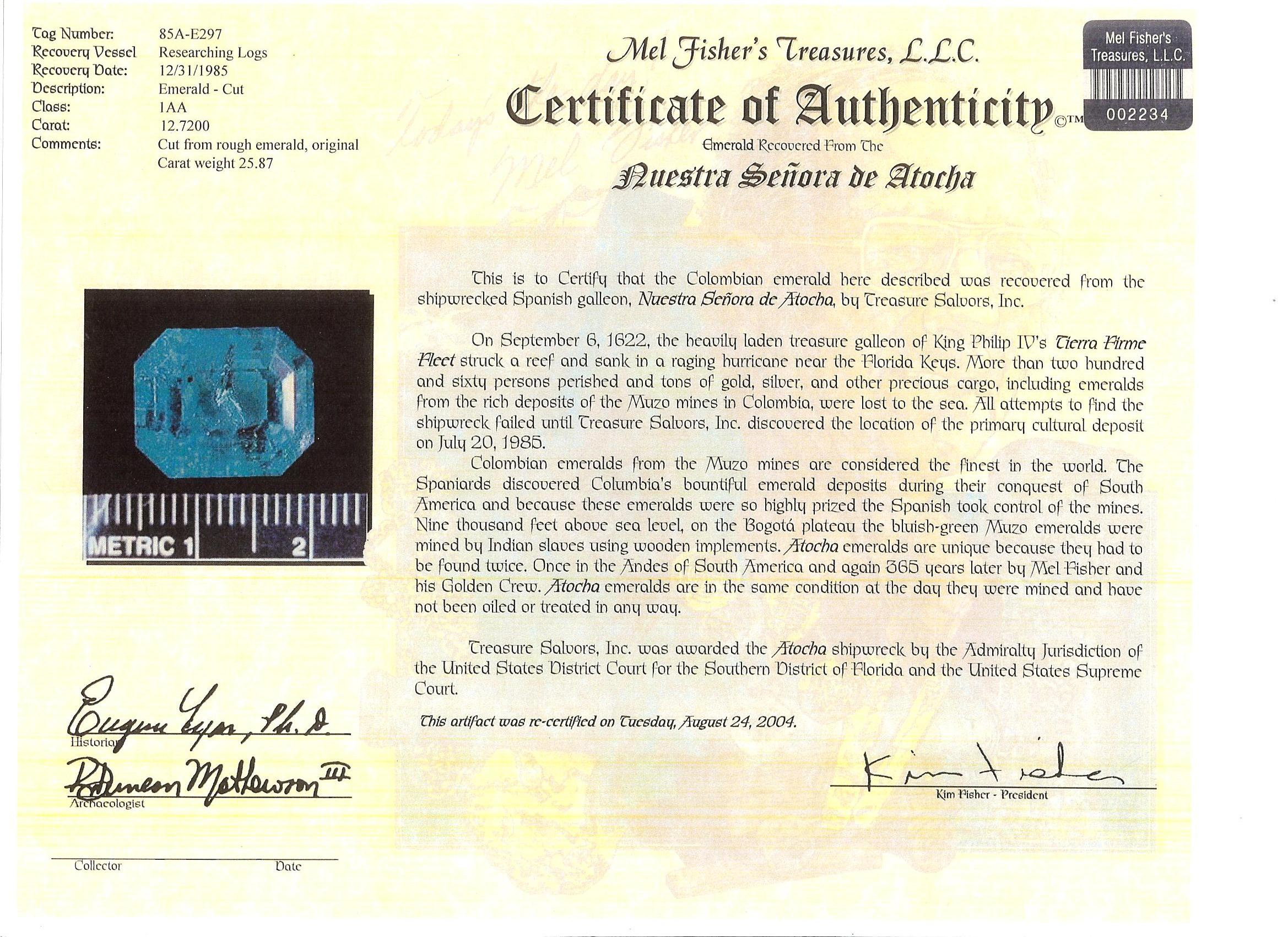 Emerald Certificate of Authentication | The Maltese Eagle
